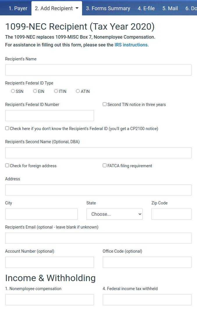 Screenshots track1099 fill in recipient form falaconquin